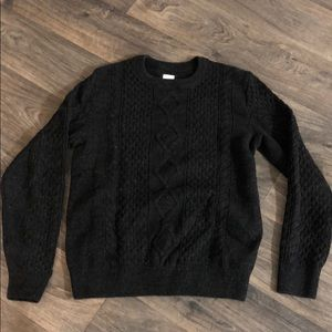 Gap Gray-Black Cable Knit Sweater